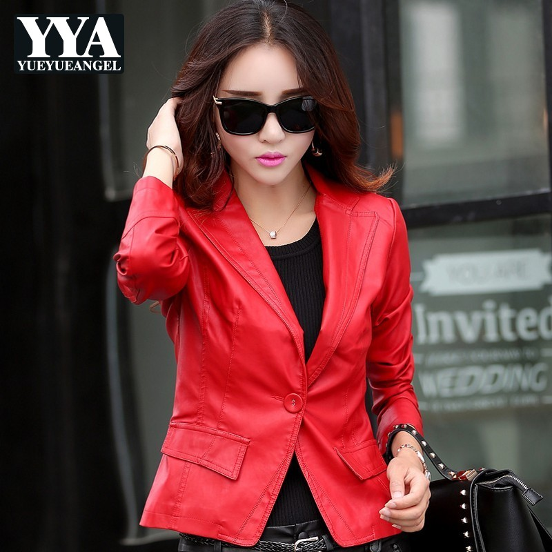 High Street Spring Fall Women PU   Leather   Jackets Female Motorcycle Red Slim OL Short Coats Ladies Outerwear Large Size M-5XL