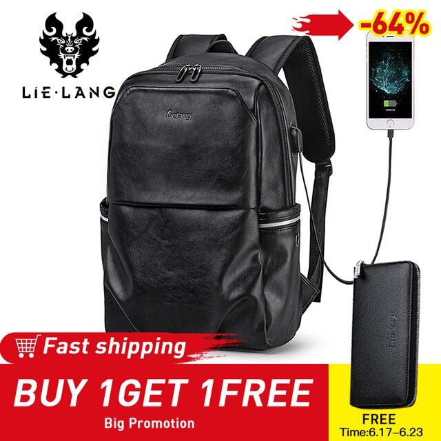 LIELANG School Backpack Waterproof 15.6 inch Leather Backpack For Laptop Men Travel Teenage Backpack Bag Male Bagpack Mochila