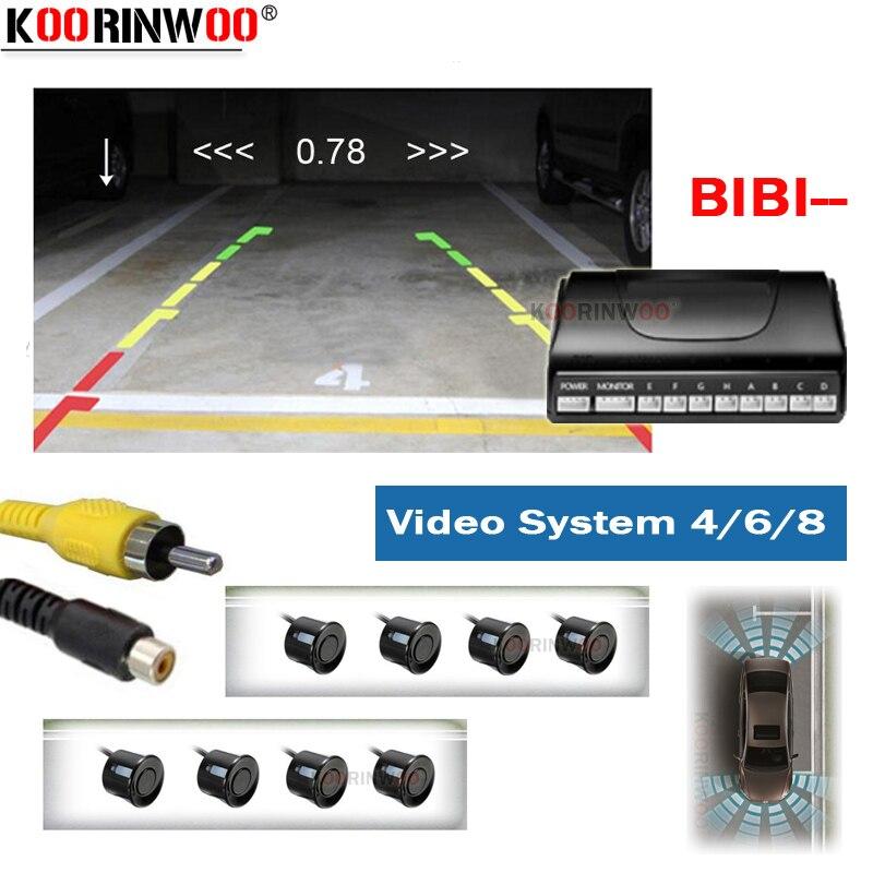 Koorinwoo Electromagnetic Car Parking Sensors 8/6/4 Probes Backlight Front Rear Alarm Parkmaster For Navigation DVD Video System