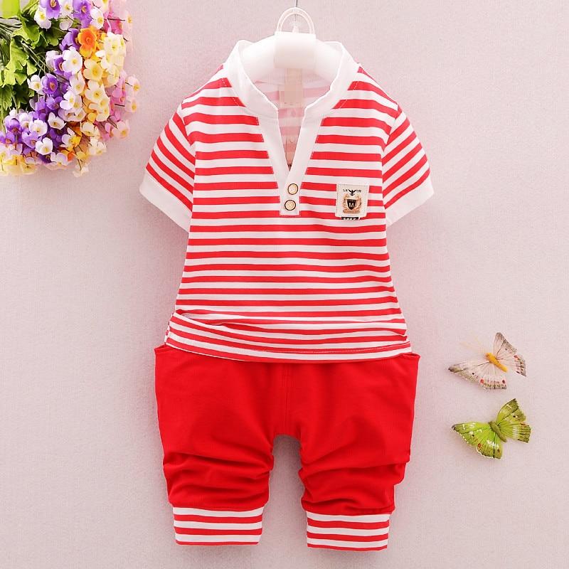 0-2Y Baby Boy odzież zestaw Toddler koszulka w paski + spodnie 2 - Odzież dla niemowląt - Zdjęcie 3