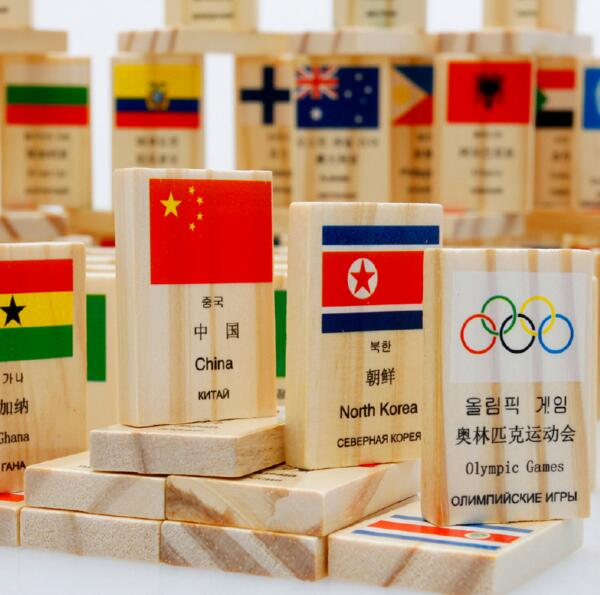 100pcs Montessori Material National Flag Country Name Educational Wooden Toys Domino Block Set стоимость