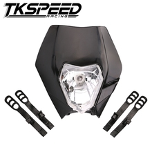 FREE SHIPPING TKSPEED Universal motorcycle Enduro Headlight fairing With Bulb Dirt Bike Motocross Headlamp for KTM SX EXC