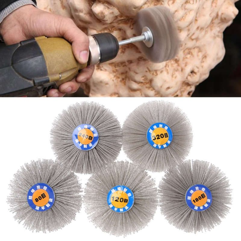 Deburring Abrasive Alumina Wire Brush Flower Head Polish Grind Buff Wheel Shank Furniture Wood Sculpture Rotary Drill Tool-