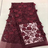 Wine Red 3D French Lace Fabric African French Lace Fabric 5 Yards Nigerian Tulle Lace Fabric With 3D Flower For Wedding Dress 30