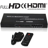 4x1 HDMI Switcher 4 Ports Quad Multi Viewer 1080P with Seamless Switcher IR Control Four Way Image Splitter