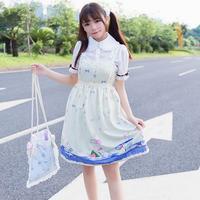2017 wiosna mody marki Japońskie słodkie dziewczyny królik puchar wzór nadrukowany Lolita lolita sukienka szelki sukienka śliczna wj141