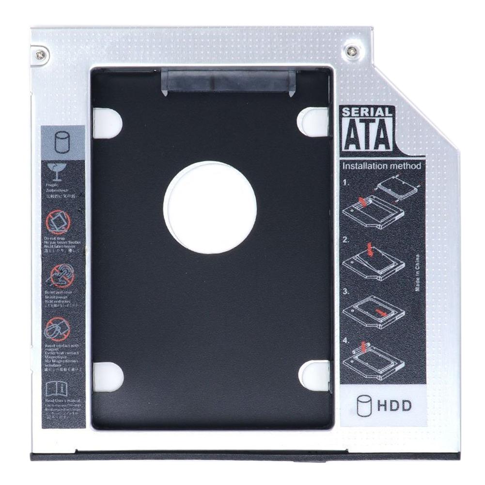 SATA 2nd HDD HD Enclosure Hard Drive Caddy Case Tray, Universal for 12.7mm Laptop CD/DVD-ROM Optical Bay Drive Slot for SSD&HDD