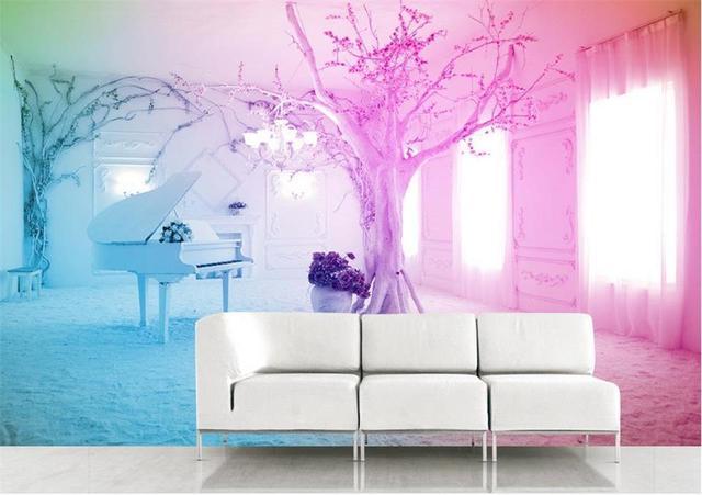 3d photo wallpaper custom mural room non woven dream Pink piano snow ...