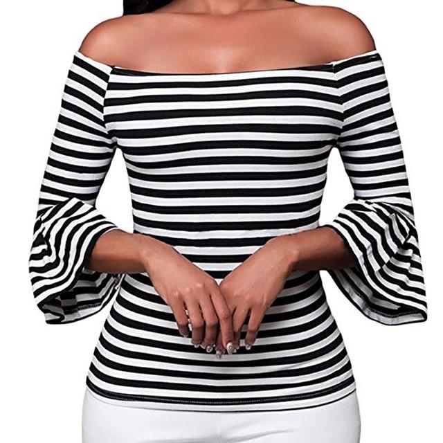 ISHOWTIENDA סקסי למעלה נשים מכתף חולצה התלקח שרוול פס חולצה נשים חולצות וחולצות Haut Femmes מצב Camisas