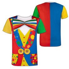 Mens Clown Costume Funny 3D T-Shirt Themed Party Carnival Birthday Novelty Tee Top for Adult Man Halloween Cosplay Circus