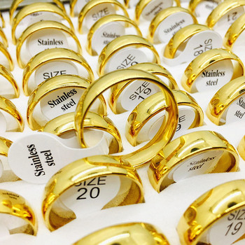 MIXMAX wholesale bulk lots 25pcs/pack 6mm golden color rings men's women's stainless steel Jewelry engagement wedding Rings