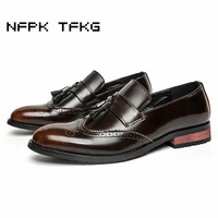 Italian Fashion Men S Breathable Business Wedding Nightclub Tassel Dress Cow Leather Bullock Shoes Carving Brogue