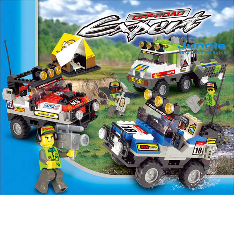 Sluban Building Blocks Toys Jungle Cross-country Car Game scene Assemble Construction Bricks Childrens toys Gift for Boys