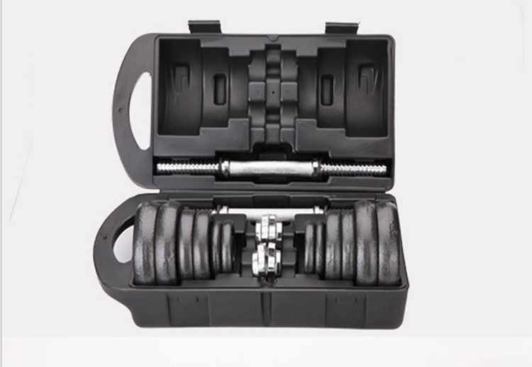 barbell dumbbell sets 2 use Plating dumbbell  2 dumbbell+security screw connector fitness equipment with plastic rods 15kg