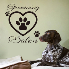 Funny Pet Grooming Salon Vinyl Wall Sticker With Dog Footprint Mural Decal Wallpaper for Pet Shop Removable WallPaper Home Decor