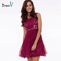 Dressv Light Plum Beaded Lace Homecoming Dress Scoop Neck A Line Sleeveless Above Knee Homecoming Dress