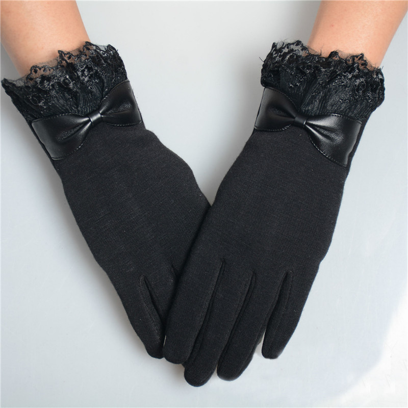 Elegant Womens Gloves Fashion  Winter Warm Bow Soft Wrist Lace Gloves Mittens Cashmere Full Finger Guantes Mujer