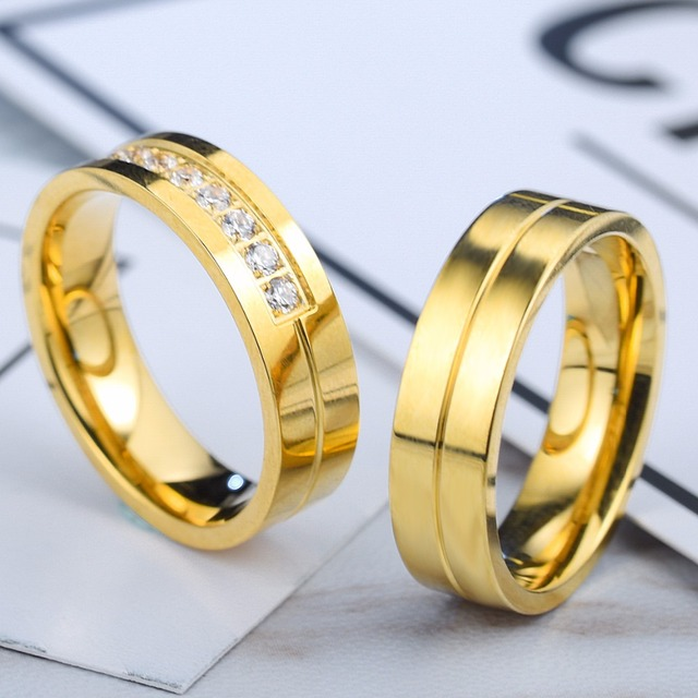 6mm Titanium steel simple couple ring Trendy Wedding Bands Rings for Love 14KGP CZ Zirconia Stainless Steel Ring