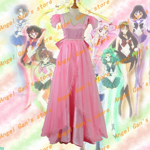 Free shipping Custom Made high qualtity sailor moon Serenity Tsukino Usagi pink Dress princess cosplay costume
