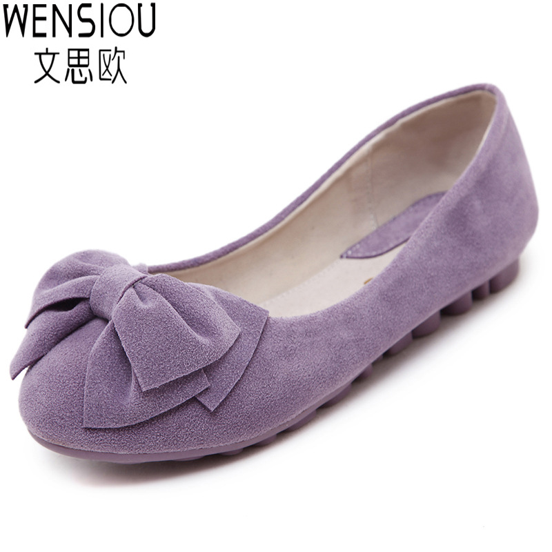 Sweet Ladies Shoes Solid With Bow Cute Comfort Flat Shoes ...