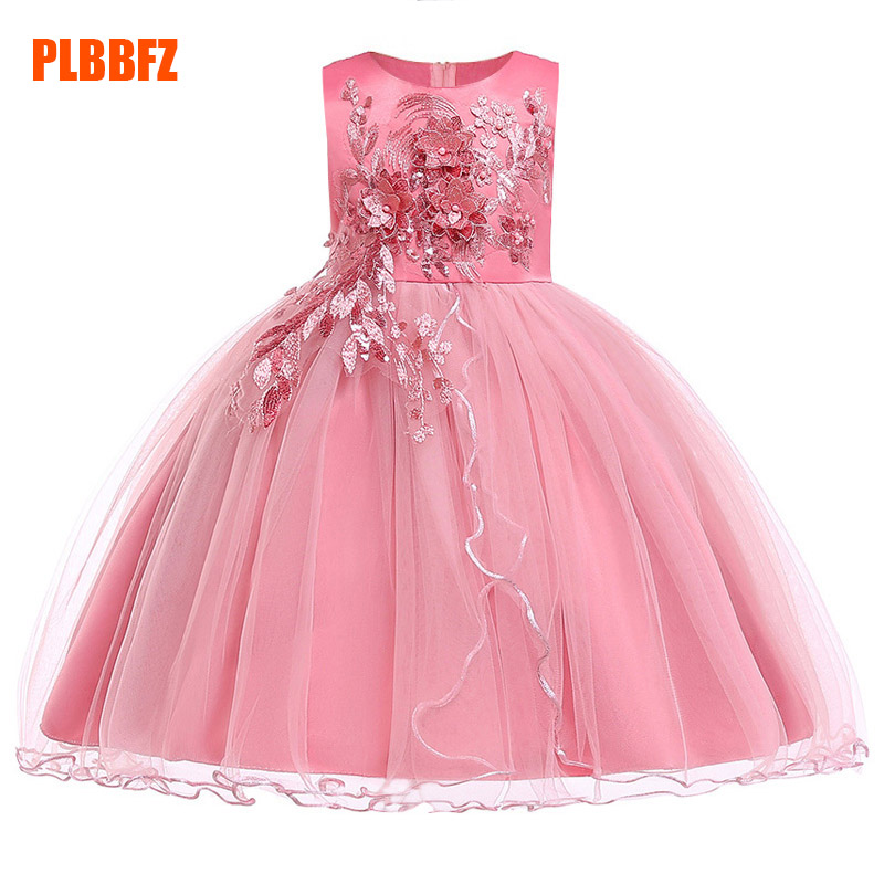 Children's Party Clothing Girl Ball Gown Wedding Clothes First Communion Princess Dress Baby Costume Beaded Mesh Vestido L5060