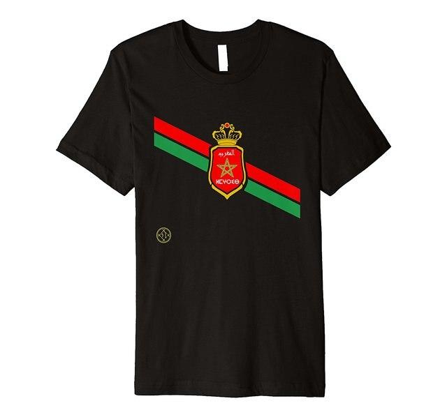 Men Men 2018 Funny Cotton Top Tees Short Sleeve Moroccan Coat of Arms Morocco  Flag Footballer Cotton T Shirt 487ea0334