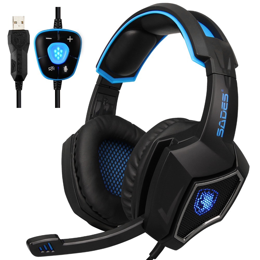 SADES Stereo Sound Earphone Spirit Wolf 7.1 Surround USB Gaming Headphones with Mic Breathing LED Light Game Computer Headset each g8200 gaming headphone 7 1 surround usb vibration game headset headband earphone with mic led light for fone pc gamer ps4