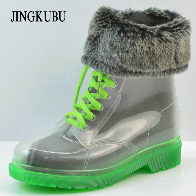 Rain boots, women with short boots, the new 2016 transparent waterproof boots, ms antiskid rubber boots boots boots aquaria