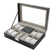 8+3 Mixed Grids Black Leather Watch Box 2 In 1 Watc