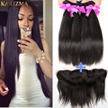 Cheap Indian Ear To Ear Full Lace Frontal Closure With Bundles 7A Unprocessed Indian Straight With 360 Lace Frontal 3 Bundles