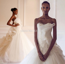 New Arrive 2015 Wedding Dresses A Line Sweetheart Lace Applique Ruffle Sweep Train Bridal Gowns yk1A107 цена
