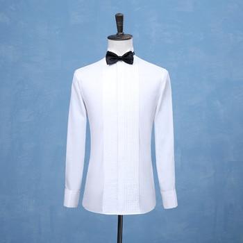 2019 New Fashion Groom Tuxedos Shirts Best Man Groomsmen White Black or Red Men Wedding Shirts Formal Occasion Men Shirts Tuxedo Shirts