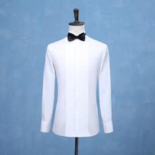 2019 nowych moda smokingi dla pana młodego koszule drużba Groomsmen biały czarny lub czerwony mężczyźni koszule ślubne formalna okazja mężczyźni koszule tanie tanio BIAN CHENG JIA YI COTTON Tuxedo koszule Pełna zy021 Suknem MANDARIN COLLAR Smart Casual Pojedyncze piersi Stałe REGULAR