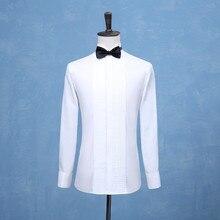 Camisas tuxedos masculinas, camisetas sociais para homens, branco ou vermelho, para casamento
