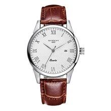 Марка Классическая Мода Кварцевые Часы Мужчины Бизнес Кожаный Ремешок Часы Рим Цифра Большой Циферблат Часы Наручные Часы Водонепроницаемый Календарь