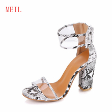 Size 35-43 2019 Women Sandals Hasp Transparent Thick Heel Ladies Summer Super High Shoes Sandalias Mujer