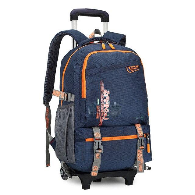 Waterproof Trolley Backpack Boys S Children School Bag Wheels Travel Luggage Kids Rolling Detachable