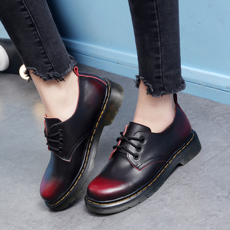 Classic Retro Oxford Shoes for Women Lace up Leather Shoes Woman 2019 Spring Ladies Martin Shoes