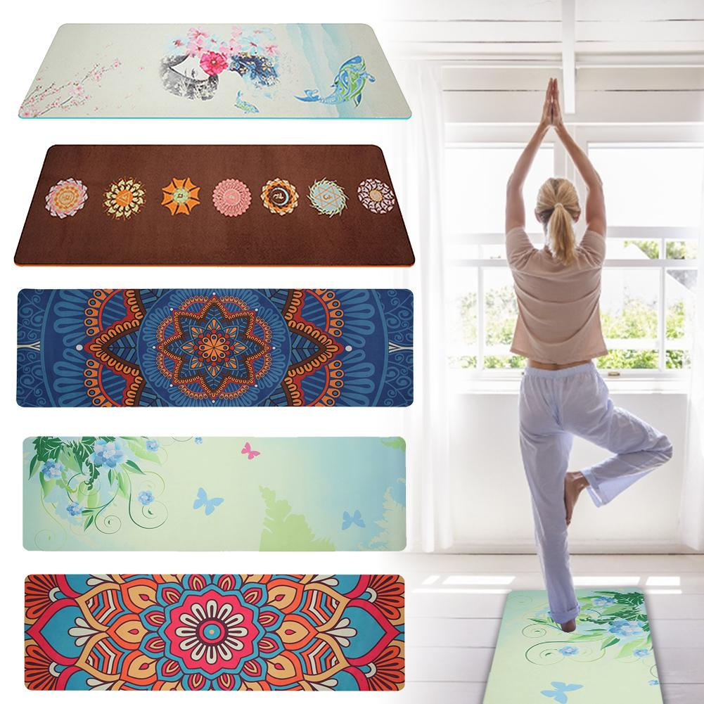 5mm Lotus Pattern Suede Mat Tpe Yoga Pad Non Slip Slimming Fitness Exercise Softly Mat Fitness Body Building Pilates Mat