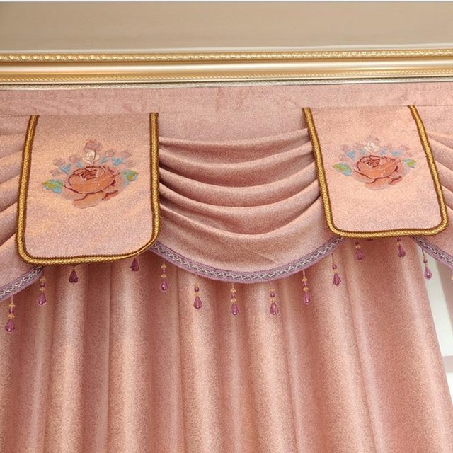 Online Shop Helen Curtain Luxury European Embroidered Pink Flower ...