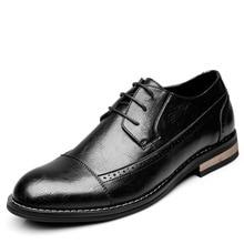 New Fashion Casual Italian Stylist Men Flat Formal Oxfords Wedding shoe Mens Dress Shoes Leather Brogue big size