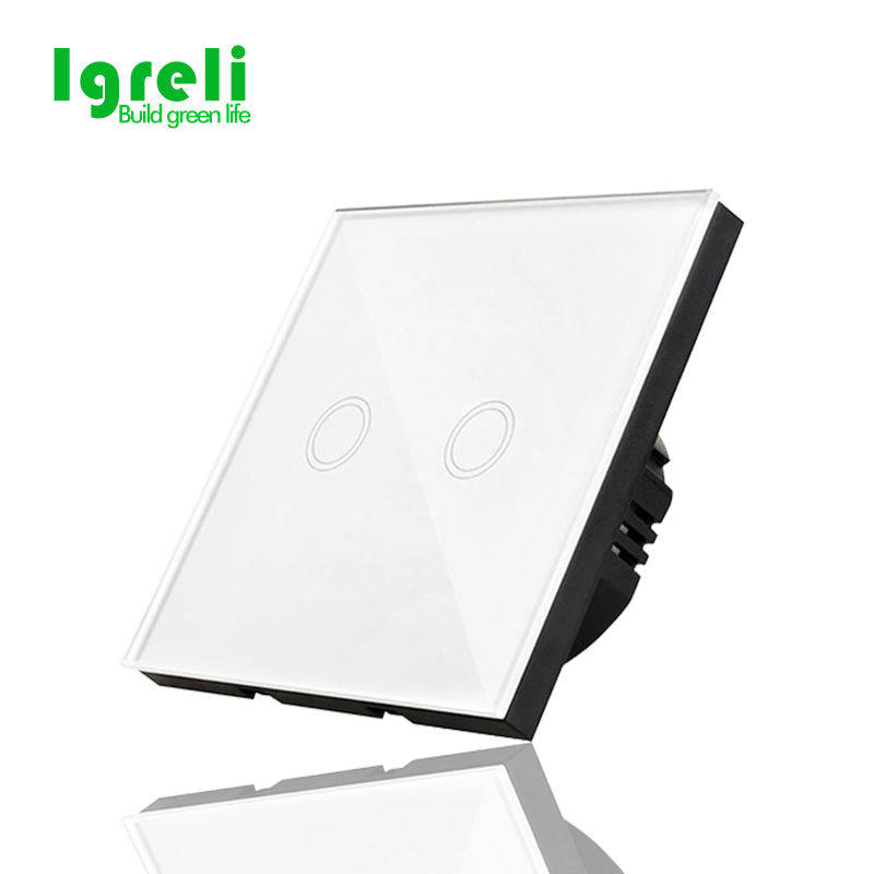 EU standard Igreli wall light touch screen switch,2 gang 1 Way White Crystal Glass Panel,wall switches for smart home lamp touch switch screen crystal glass panel switches eu wall electrical touch light switch led switch 3gang 1way white for lamp
