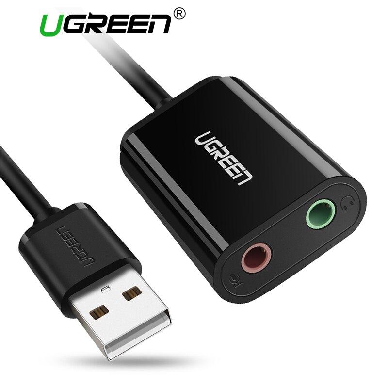 Ugreen Soundkarte Externe 3,5mm USB Adapter USB zu Mikrofon Lautsprecher Audio Interface für PS4 Pro Computer USB Sound karte