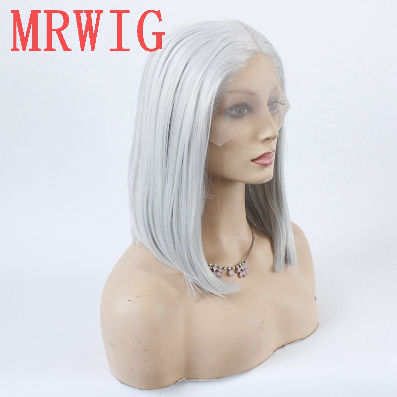 Image 2 - MRWIG silver gray short bob straight glueless front lace wig middle part 12in 150%density grey hair color wig-in Synthetic None-Lace  Wigs from Hair Extensions & Wigs