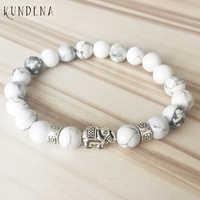 Natural Stone beaded bracelets for men and women White Howlite T-urquoise Elephant Charm Bracelet with Flower Spacers