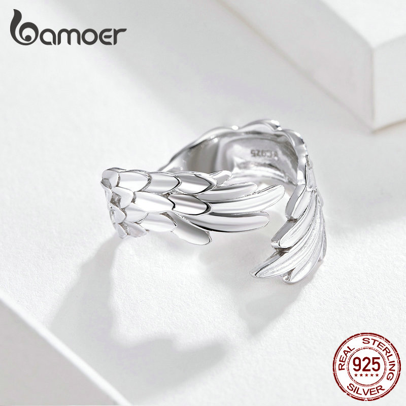 BAMOER Guardian Wings Ring Authentic 925 Sterling Silver Free Size Adjustable Finger Rings for Women Fashion BAMOER Guardian Wings Ring Authentic 925 Sterling Silver Free Size Adjustable Finger Rings for Women Fashion Jewelry SCR512