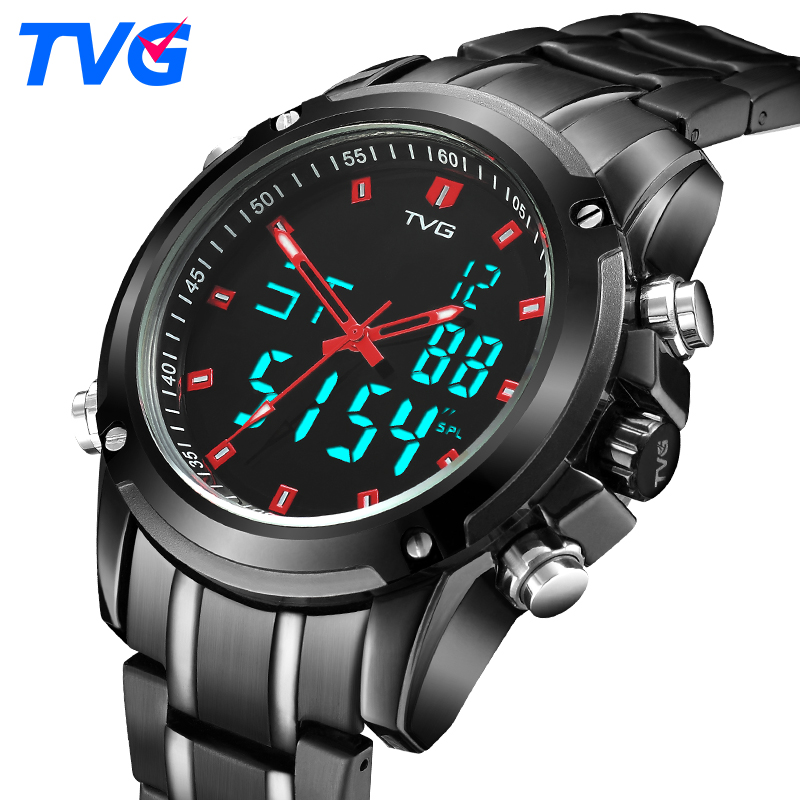 TVG Brand Men Sports Watches Men s Quartz Analog Military Watch Waterproof LED Digital Watch Stainless