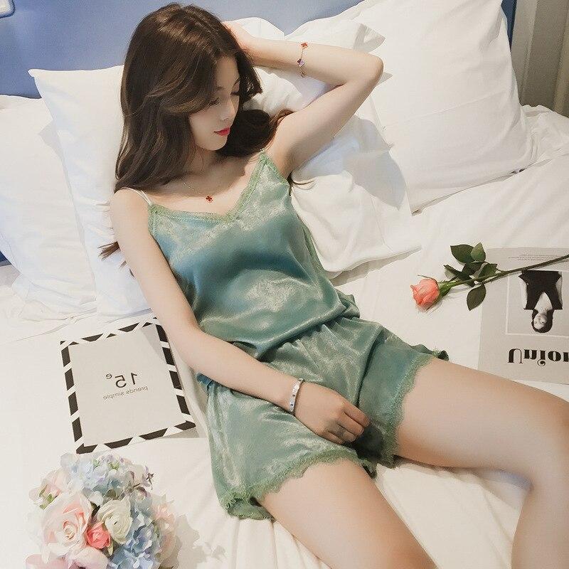 QWEEK Summer Sexy Lace   Pajama     Sets   Silk Pijama Sexy Pyjama for Women Sleeveless Shorts Female Sleepwear Large Size M-XXL