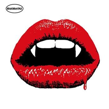 HotMeiNi, pegatina para coche con diseño de labios de vampiro, sangriento pegatina de vinilo, divertido equipaje de viaje para ordenador portátil, accesorios impermeables, 13cm x 10cm