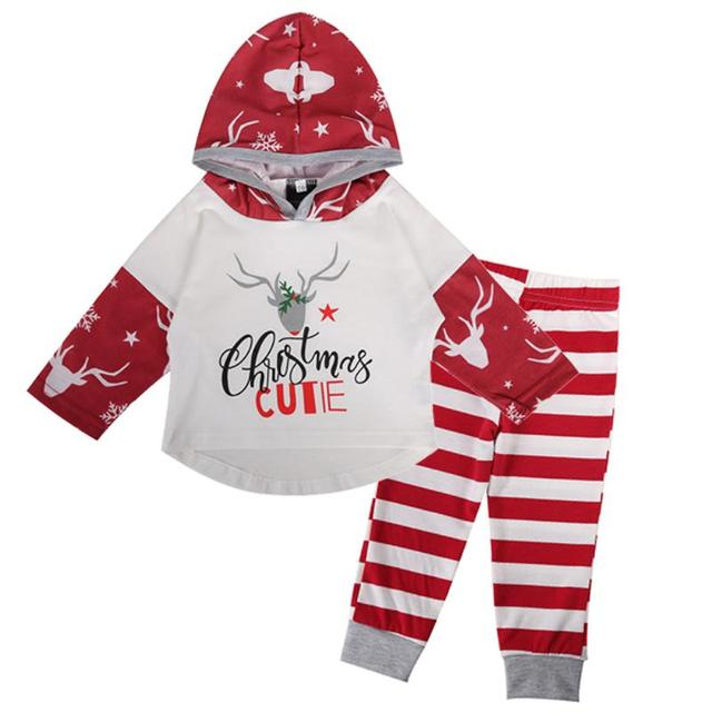 3 18m newborn infant baby girls christmas outfit deer hoodies with striped pants my first